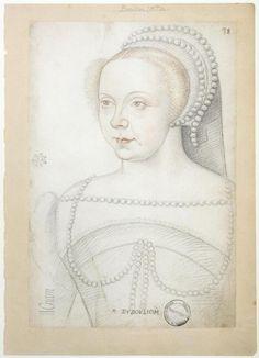 1550s (approx)Françoise de Brézé dame de la Marck, duchesse de Bouillon, comtesse de Maulevrier, baronne de Mauny (1519-1574) wife of Robert IV .La Marck Duc Bouillon/sister of Louise*1521+1577 daughters of Diane Poitiers- (by Clouet)