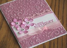 Embossed Birthday card with Flowers in Pink by CoopsCraftyCorner, $3.25