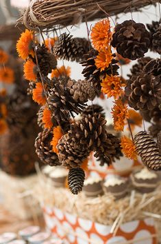 DIY pinecone and mum fall chandelier