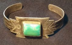Vingtage-Old-Pawn-Fred-Harvey-Era-Silver-Turquoise-Stamped-Cuff-Bracelet-17-Gr