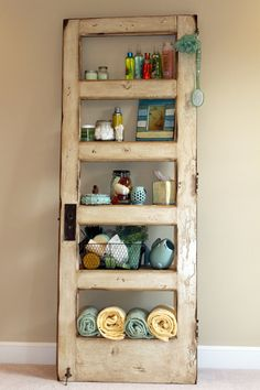 Vintage Door Repurposed Bookshelf GO GREEN by TheDoorShelfFactory