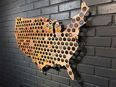 Beer Cap Maps Every state in the union has good local beer and with the Beer Cap Map you can display your favorites from coast to coast. Made from real wood in the beer-friendly state of Wisconsin, Beer Cap Maps are currently available in a map of the whole USA as well as 48 individual states—Alaska & Hawaii are coming soon.