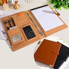 Price tracker and history of RuiZe leather folder Padfolio multifunction organizer planner notebook ring binder file folder with calculator office supply Planer Organisation, Folder Organization, Office Supply Organization, Leather Notepad, Leather Notebook, Leather Folder, Leather Projects, Ring Binder, File Folder