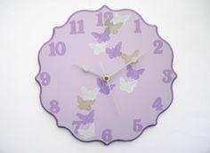 Children/ nursery wall clock Butterflies clock  Purple by Shellyka, $35.00. CUTTTEE!