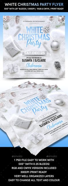 Buy White Christmas Party Flyer by Flyermania on GraphicRiver. White Christmas Party Flyer is very modern psd flyer that will give the perfect promotion for your upcoming event or . Christmas Flyer Template, Flyer Printing, Free Park, Club Parties, Party Flyer, Print Templates, Family Quotes, White Christmas, Entertaining