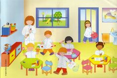 Praatplaat school School Clipart, Printable Pictures, Critical Thinking Skills, Picture Story, Picture Description, Cartoon Pics, Toddler Preschool, Learning Spanish, Speech And Language