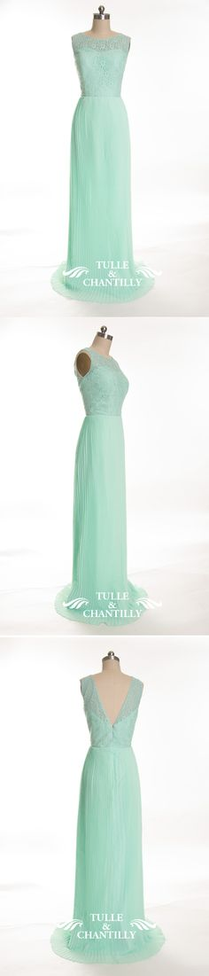 mint lace and chiffon pleated bridesmaid dress with open v back - see more at: http://www.tulleandchantilly.com/lace-and-chiffon-bateau-neck-mint-green-bridesmaid-dress-p-656.html