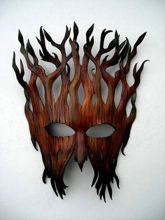 Woodland entity mask:Leather mask original handcrafted Halloween Mardi gras masquerade Pagan Samhain burning man Steampunk mask Plus Steampunk Mask, Cool Masks, Leather Mask, Masks Art, Green Man, Mask Making, Art Plastique, Samhain, Wood Art