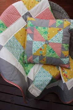 Vintage Squares Lap/Cot Quilt and Quilted Cushion by SewWellMaide, $105.00