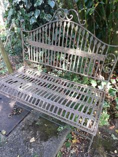 Wrought iron bench.