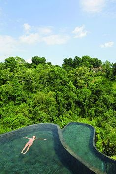 Ubud Hanging Gardens, Indonesia There's no shortage of spectacular swims in Bali, but only guests at theUbud Hanging Gardensresort can indulge ininfinity-edged bi-level bliss — and the feeling of floating above a jungle.