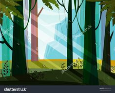 Landscape with jungle,mountain,forest,trees,wood,plant. Green,blue,violet colors. Minimalistic landscape nature. Jungle nature landscape. Magic. Nature vector. Nature flora. Vector, EPS 10.
