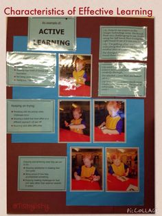 Characteristics of Effective Learning - Active Learning. This is displayed in our class. Learning Stories, Learning Activities, Characteristics Of Learning Display, Early Learning, Kids Learning, Preschool Displays, Early Years Classroom, Eyfs Classroom, Teaching Tools