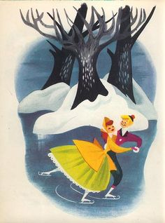 'Once Upon a Wintertime' was a short segment of the Disney film ' Melody Time' originally released in 1948 - then re-released as a stand-alone short film in 1954 (artwork by Mary Blair) Mary Blair, Disney Love, Disney Magic, Walt Disney, Images Vintage, Vintage Art, Illustrations, Illustration Art, Images Disney