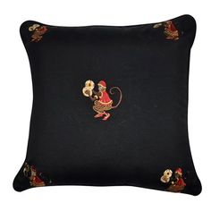 "Loom and Mill P0034-2020P 20"" x 20"" Black Monkey Decorative Pillow - 11 Main"