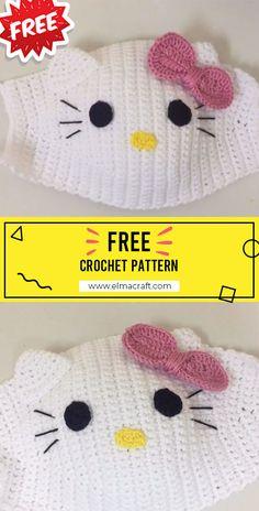 Crochet Faces, Crochet Mask, Diy Crochet, Crochet Crafts, Crochet Projects, Animal Face Mask, Face Masks, Hello Kitty Crochet, Single Crochet Stitch