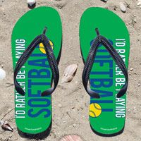 Id Rather Be Playing Softball on Green Flip Flops - Kick back after a softball game with these great flip flops! Fun and functional flip flops for all softball players and fans.