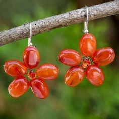 Mystic Daisy Orange Carnelian Petals Crystal Bead Center Flowers on 925 Sterling Silver Wires Womens Dangle Earrings (Thailand) - 11298765 - Overstock - Great Deals on Novica Earrings - Mobile