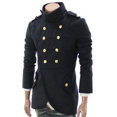 (Doublju Mens Casual Double Breasted Half Coat (GA11))