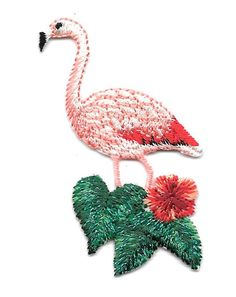 Flamingo - Tropical Bird - Tropical Flower - Embroidered Iron On Applique Patch