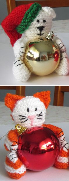 Free Knitting Pattern for Polar Bear and Cat Bauble Ornaments - Toy softies that hug holiday ornament balls. Designed by Jenny Stacey. 10cm high.