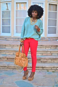 slouchy mint green sweater with red skinnies