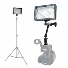 """Foto&Tech Professional 160 LED Dimmable Ultra High Power Panel Video Light for All Cameras Camcorders 4K Video Photo Shoot weddings Easy Mount + 11"""" Adjustable Magic Arm + 3 Filters + Carry Case"""