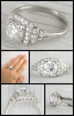 Antique 1.63 carat Art Deco engagement ring from 1920. Center diamond is set in a low 4 prong box setting on top of a classic Art Deco ascending step like design accented by single cut diamonds and millegrain edges. Via Diamonds in the Library.