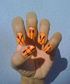 Knife, fork and spoon nail art design - too cute!