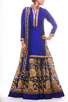 Royal Blue Long Kameez paired with Raw Silk Lehenga with all over Kasab Pattern Embroidery paired with soft net dupatta with zardozi and kasab border.