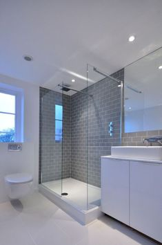 Gray And White Bathroom Design Ideas, Pictures, Remodel and Decor Loft Bathroom, Grey Bathrooms, Bathroom Layout, Bathroom Interior Design, Bathroom Gray, Metro Tiles Bathroom, Bathroom Designs, Bathroom Storage, Gray And White Bathroom Ideas