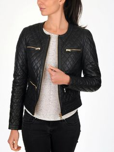 Black Women/'s Slim Fit Biker Diamond Quilted Real Leather Jacket-BNWT