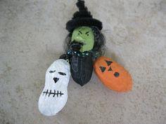 Peanut Halloween Ornament Set, Painted Peanuts