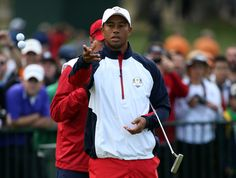 Tiger Woods broke out the tri-color windshirt for practice on Wednesday.