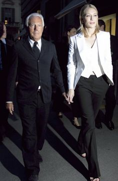 mr. armani and the always stunning cate blanchett in a three piece armani suit. that's how it is done!