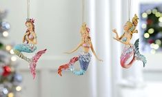 3 beautiful mermaid ornaments to choose from - each sold separately. Each mermaid has a multicolored glittery tail and beautiful flowing hair. Sure to brighten up your Christmas tree or any space that you choose to place one or all of them! Christmas Tree Themes, Christmas Tree Ornaments, Mermaid Ornament, Mermaid Gifts, Projects To Try, Merry, Mermaids, Beautiful, Shells