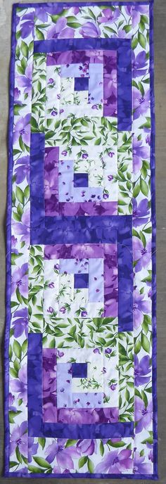 Quilted Table Runner Log Cabin Design from the Catalina Ultra Violet Collection of Maywood Studio TBL113