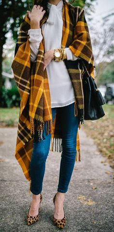 Camel Multi Oversized Plaid Scarf by Sequins