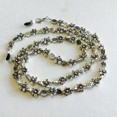 Silver Plated Flower Mix Beaded Eyeglass Chain, Sunglass chain, eyeglass holder, eyeglasss cord, necklace by HeavenlyChains on Etsy