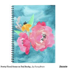Pretty Floral Scene on Teal Background Notebook