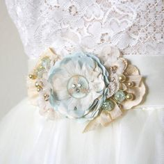 Floral Bridal Belt, Mint Blue Flower Brooch and Ribbon Sash, Beach Wedding Dress Accessory Fabric Flower Pins, Fabric Flower Brooch, Light Blue Flowers, Lace Flowers, Wedding Mint Green, Happy Wedding Day, Bridal Shawl, Thing 1, Wedding Dress Accessories