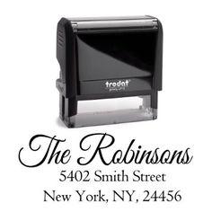 Return Address Family Last Name Surname Stamp Personalized Trodat Custom Self Inking Rubber Stamper | Housewarming Gift Stamp Wedding Custom Labels Black Ink