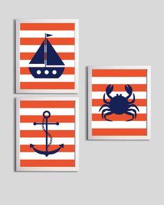 Nursery Art Chevron Beach Ocean Sea Navy Orange more colors available set of 3 each 8x10. $36.00, via Etsy.