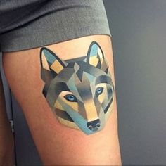 This beautiful geometric wolf. | 33 Amazing Tattoos For The Animal Lover In You