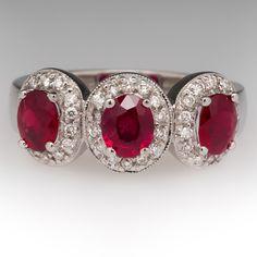 Low Profile Three Stone Ruby Diamond Halo Ring 18K