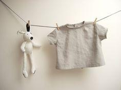 Grey linen baby boy shirt  12-18 months by robedellarobi on Etsy