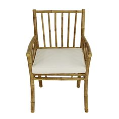 The Statra Bamboo Accent Dining Arm Chair brings elegance and comfort to your dining room or outdoor dining space. It boasts a durable bamboo frame. Bamboo Dining Chairs, Dining Arm Chair, Outdoor Dining, Outdoor Chairs, Patio Chairs, Adirondack Chairs, Bamboo Furniture, Simple Furniture, White Cushions