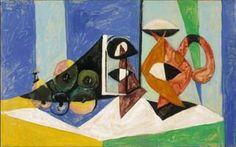 Pablo Picasso - Still life with pitcher, 1937 Pablo Picasso, Art Picasso, Picasso Famous Paintings, Oil Paintings, Trinidad, Mimi Photo, Picasso Still Life, Cubist Movement, Art Gallery
