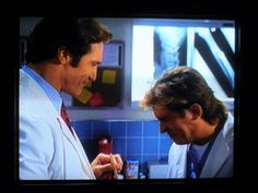 Trapped in Paradise episode-Jesse has been teasing Steve about his undercover, so Steve is enjoying having a little revenge at Jesse's expense, with a witness so he can't blow his cover! Diagnosis Murder, Mark Sloan, Undercover, Dear Friend, Revenge, Favorite Tv Shows, Paradise, Chips, Van