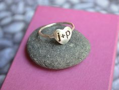 Personalized Heart Ring in Sterling Silver. $28.00, via Etsy.